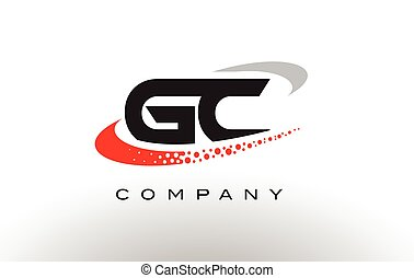 GC Modern Letter Logo Design with Red Dotted Swoosh - GC...