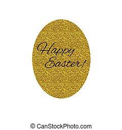 Golden Easter egg - Happy Easter. Golden egg isolated on...