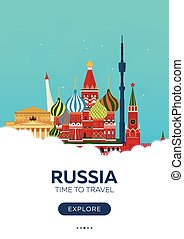 Russia. Moscow. Time to travel. Travel poster. Vector flat...