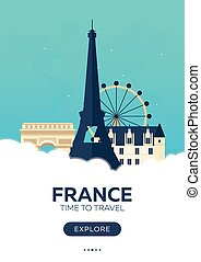 France. Time to travel. Travel poster. Vector flat...