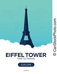 France. Eiffel tower. Time to travel. Travel poster. Vector...