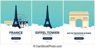 France. Time to travel. Set of Travel posters. Vector flat...