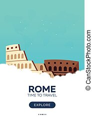 Italy. Rome. Time to travel. Travel poster. Vector flat...
