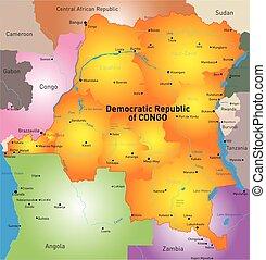 Democratic Republic of Congo - Vector color map of...