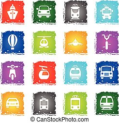 transport icon set - transport vector web icons in grunge...