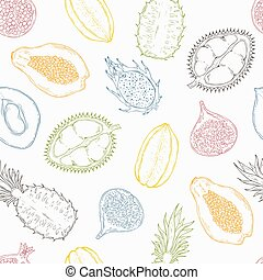 Pattern of exotic fruits. On a light background. Seamless.