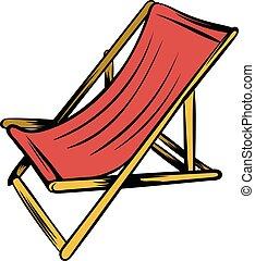 Wooden beach chaise icon cartoon - Wooden beach chaise icon...