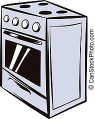 White oven icon cartoon