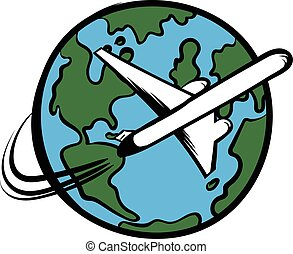 Traveling by a plane icon cartoon