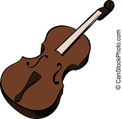 Violin icon cartoon - Violin icon in cartoon style isolated...
