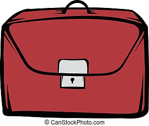 Brown business briefcase icon cartoon