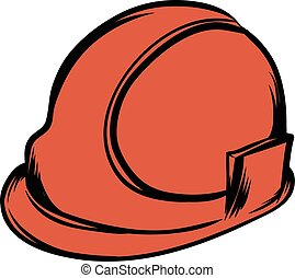 Orange safety helmet icon cartoon - Orange safety helmet...