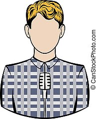 Man with microphone icon cartoon - Man with microphone icon...