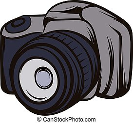 Black camera icon cartoon