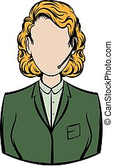 Woman in a green blazer with headset icon cartoon