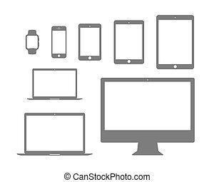 beweeglijk, Set, plat, tablet, horloge, draagbare computer,...