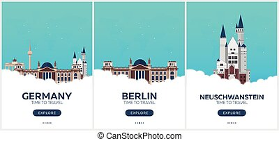 Germany. Time to travel. Set of Travel posters. Vector flat...