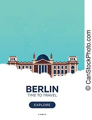 Germany. Berlin. Time to travel. Travel poster. Vector flat...
