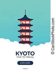 Japan. Kyoto. Time to travel. Travel poster. Vector flat...