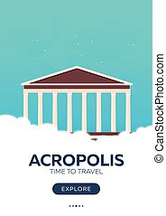 Greece. Acropolis. Time to travel. Travel poster. Vector...