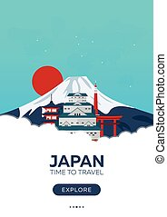 Japan. Time to travel. Travel poster. Vector flat...