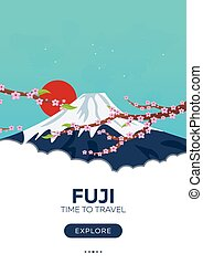 Japan. Fuji. Time to travel. Travel poster. Vector flat...