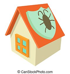 Disinfection house icon, cartoon style - Disinfection house...