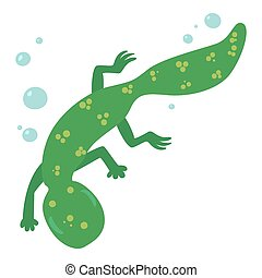 Swimming lizard icon, cartoon style - Swimming lizard icon....