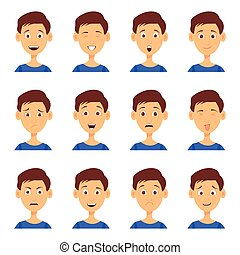 Set of male emoji characters. Cartoon style emotion icons....