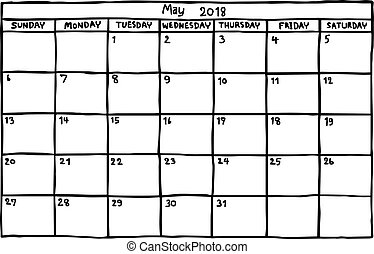 calendar May 2018 - vector illustration sketch hand drawn...