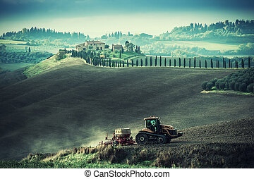 Vintage Rural Landscape with Tractor