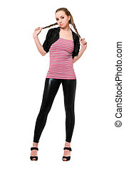 Playful pretty young woman in black leggings Isolated