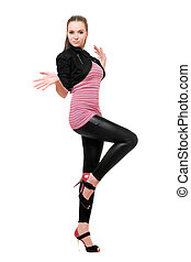 Playful young woman in black leggings. Isolated