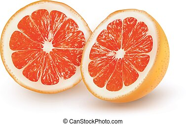 The ripe grapefruit on a transparent background. Vector.