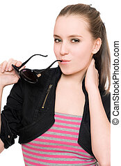 Portrait of pretty young woman with sunglasses