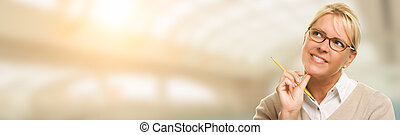 Contemplative Young Adult Woman Looking Off To The Side Wide Banner with Room For Text.