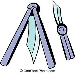 Butterfly knife icon, icon cartoon