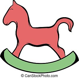 Wooden horse icon cartoon - Wooden horse icon in cartoon...
