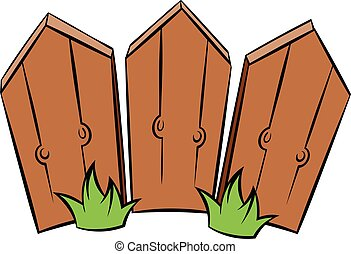 Wooden fence icon cartoon - Wooden fence icon in cartoon...