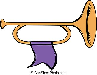 Trumpet with flag icon cartoon - Trumpet with purple flag...