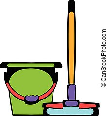 Bucket with a mop icon cartoon - Bucket with a mop icon in...