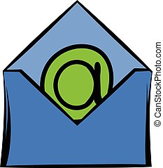 Open envelope with e-mail sign icon, icon cartoon