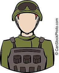 Soldier icon cartoon - Soldier icon in cartoon style...