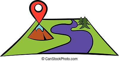 Map with pin pointers icon, icon cartoon