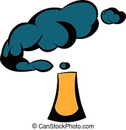 Industrial smoke from chimney icon, icon cartoon -...