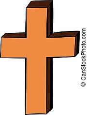 Christian cross icon cartoon - Christian cross icon in...