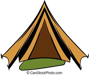 Military tent icon cartoon - Military tent icon in cartoon...
