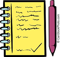 Spiral notebook and ballpoint pen icon in icon in cartoon...