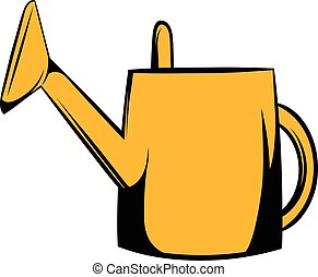 Watering can icon cartoon - Yelow watering can icon in...