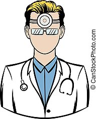 Doctor with stethoscope and reflector frontal of...